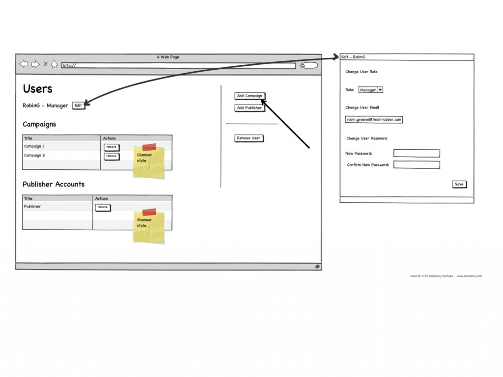 User Management User Wireframes